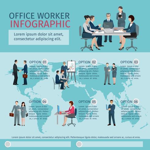 Ufficio lavoratore infografica vettore