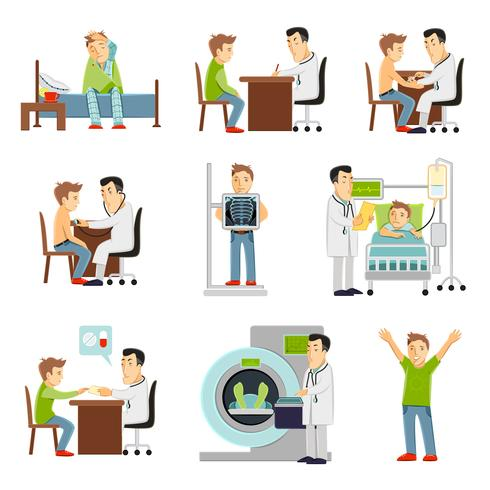 Dottore e set paziente vettore