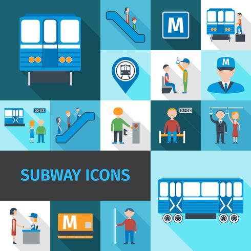 Icone della metropolitana piatte vettore