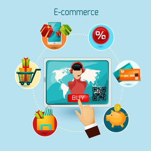 Illustrazione di concetto di e-commerce vettore