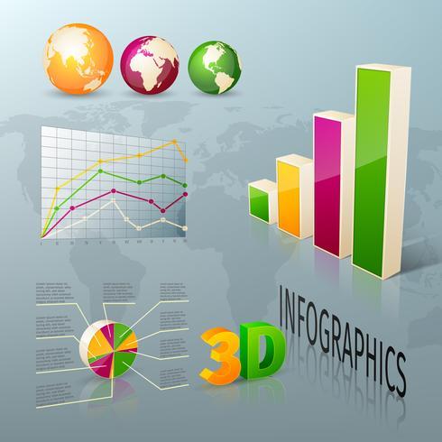 Elementi astratti di progettazione di infographics di affari 3d vettore