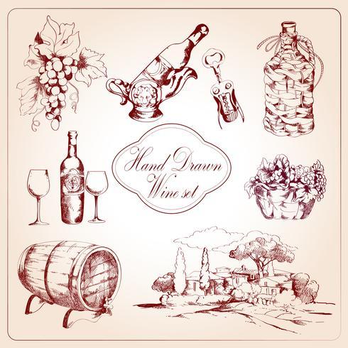 Set di icone decorative di vino vettore