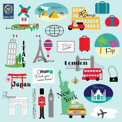 grafica clipart di viaggio del mondo vettore