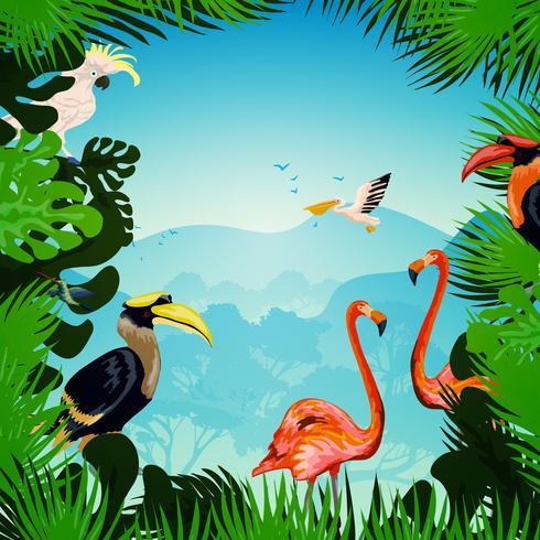 Sfondo foresta tropicale vettore