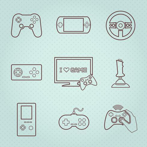 Set di icone di controller di videogiochi vettore