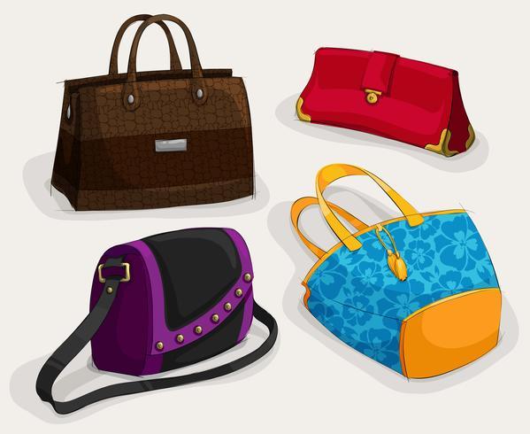 Collezione di borse donna moda vettore