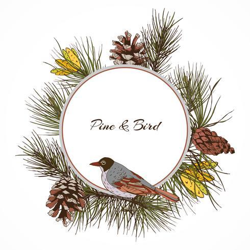 Etichetta di ramo di pino uccello vettore