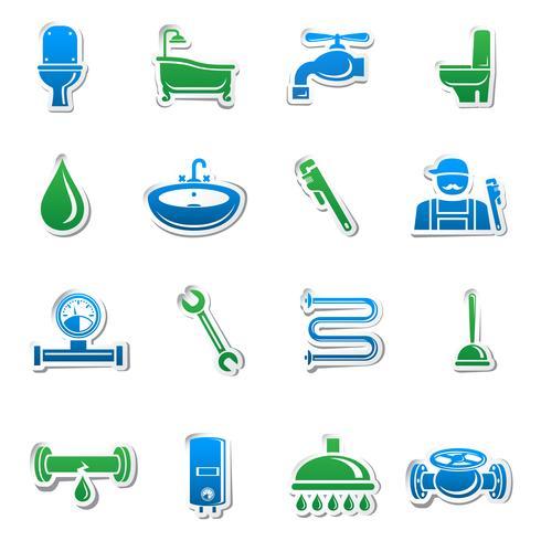 Raccolta di adesivi strumenti idraulici vettore
