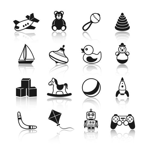 Set di icone di giocattoli neri vettore
