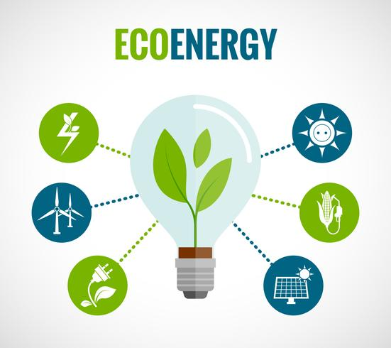 Manifesto della composizione di icone piane di energia di eco vettore