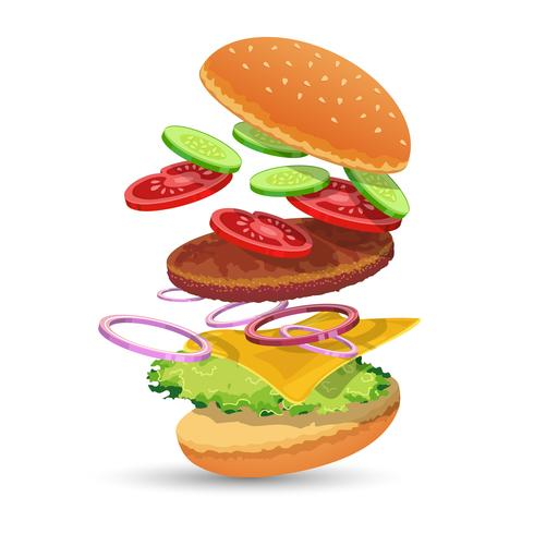 Emblema di ingredienti di hamburger vettore