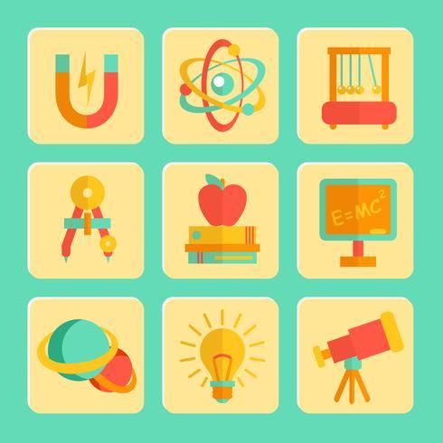 Set di icone di design piatto di fisica vettore