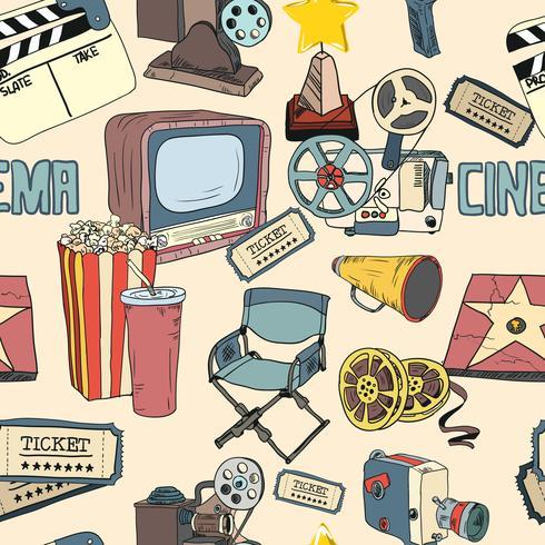Carta da parati senza cuciture colorata cinema doodle vettore