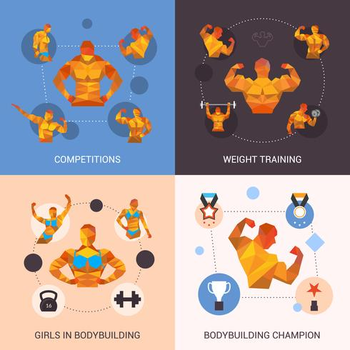 Set poligonale per bodybuilding vettore