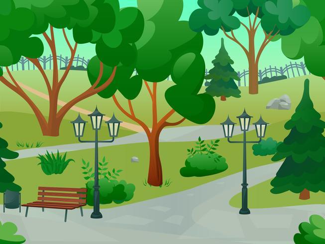 illustrazione del paesaggio del parco vettore