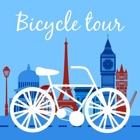 Locandina del tour in bicicletta vettore
