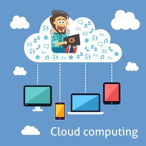 Concetto di cloud computing aziendale vettore