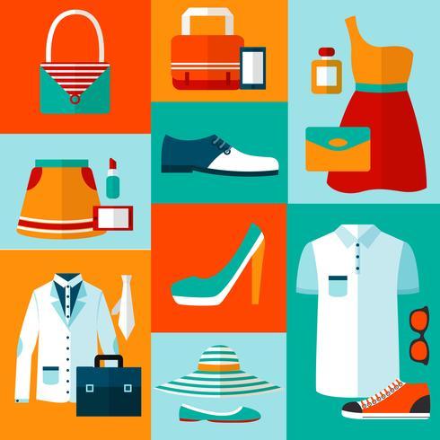 Shopping elementi di design della moda vettore