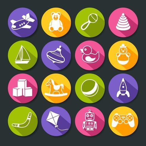 Set di icone rotonde di giocattoli vettore