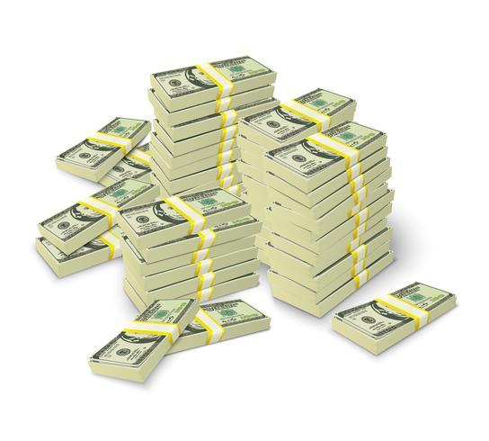 Il denaro impila il concetto del mucchio delle banconote vettore