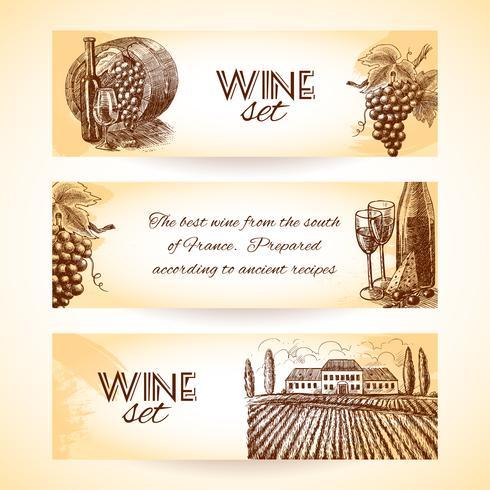 Set di banner di vino vettore