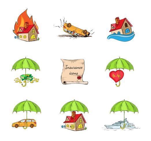 Set di icone di sicurezza assicurativa vettore