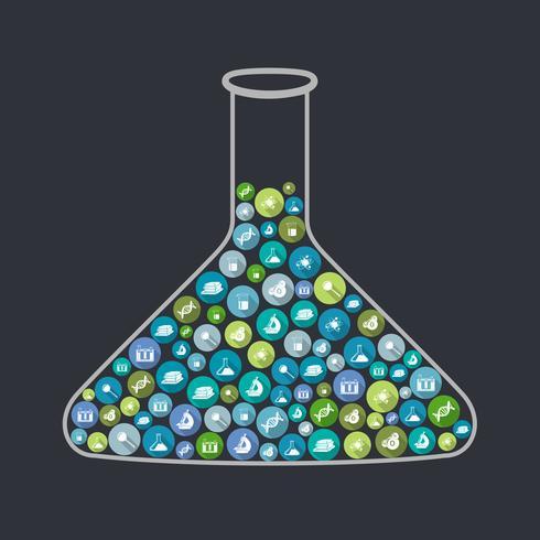 Concetto di scienza beaker vettore