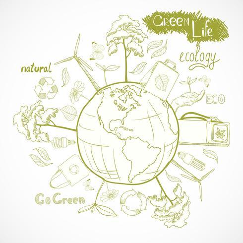 Doodles l'ecologia e il concetto di ambiente vettore