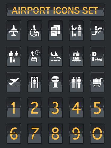 Icone del pannello informazioni aeroporto impostate vettore