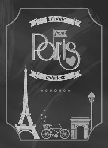 amore retrò poster lavagna di parigi vettore
