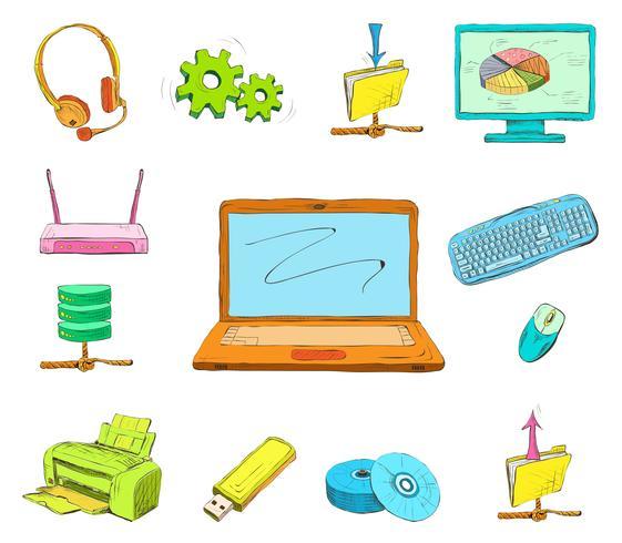 Set di icone del computer aziendale vettore