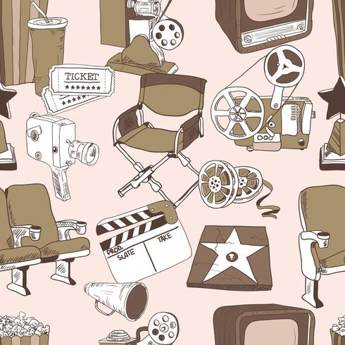Doodle seamless pattern di cinema vettore