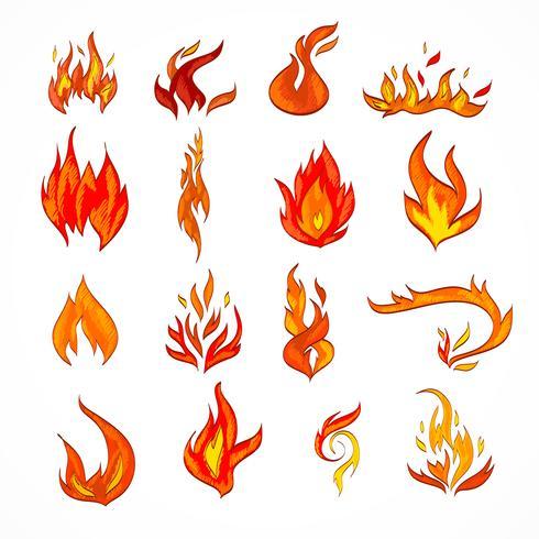 Schizzo icona di fuoco vettore