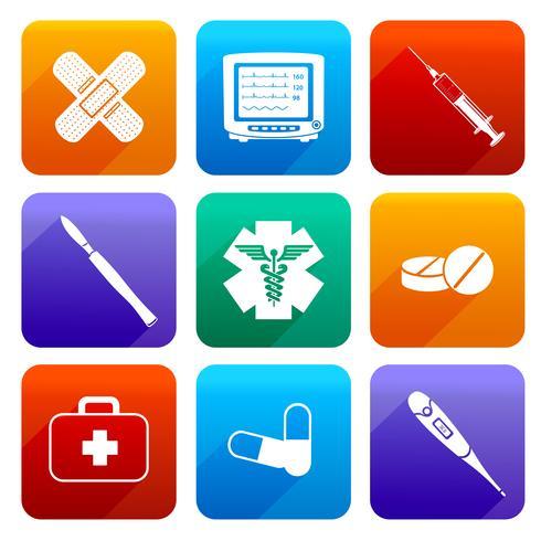 Icone mediche piatte vettore