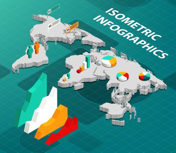 Mappa del mondo isometrica con infografica aziendale vettore