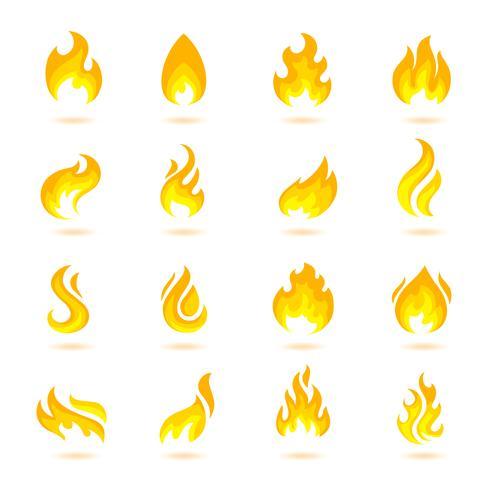 Icone di fuoco fiamme vettore
