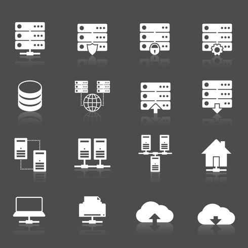 Icone di rete di hosting vettore
