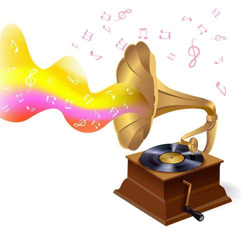 Musica di sottofondo con grammofono vettore