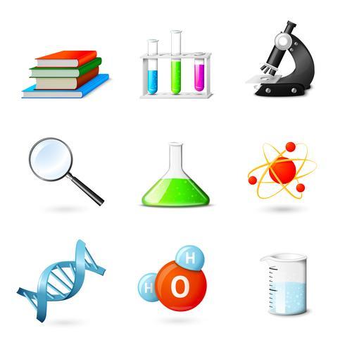 Icone realistiche di scienza vettore