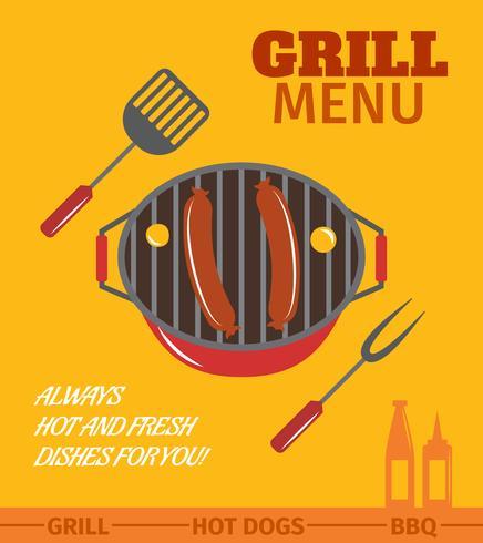 Poster griglia barbecue vettore