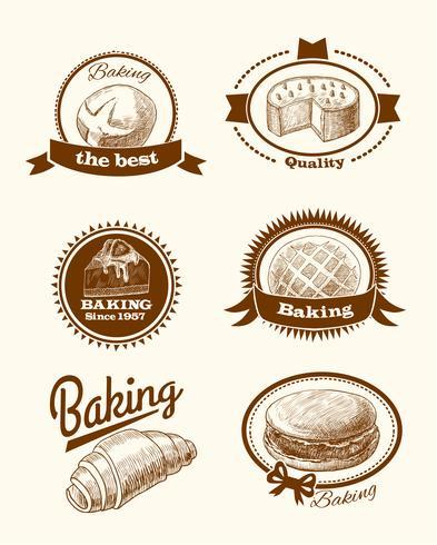 Etichette per pasticceria e pane vettore