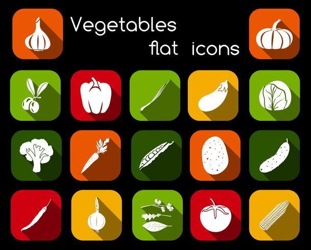 Icone piane di verdure vettore