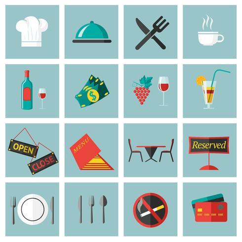 Set di icone cibo ristorante vettore