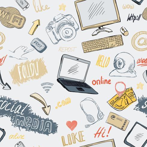 Modello di media sociali di doodle senza soluzione di continuità vettore