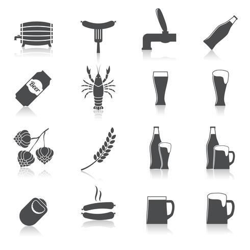 Set di icone di birra alcol vettore