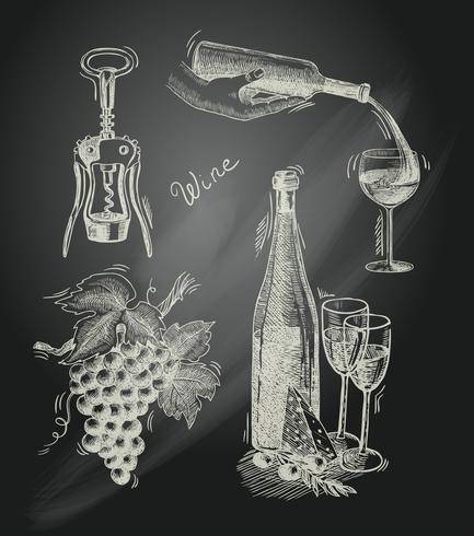 Set decorativo lavagna vino vettore