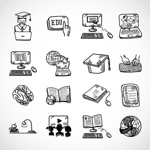 Schizzo di icona di formazione online vettore