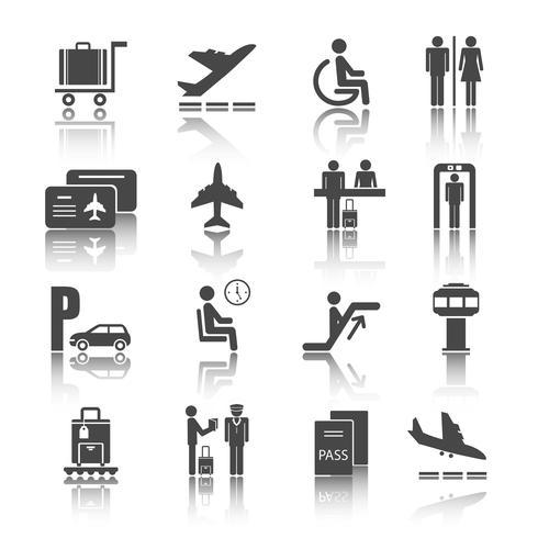 Set di icone di aeroporto piatto vettore