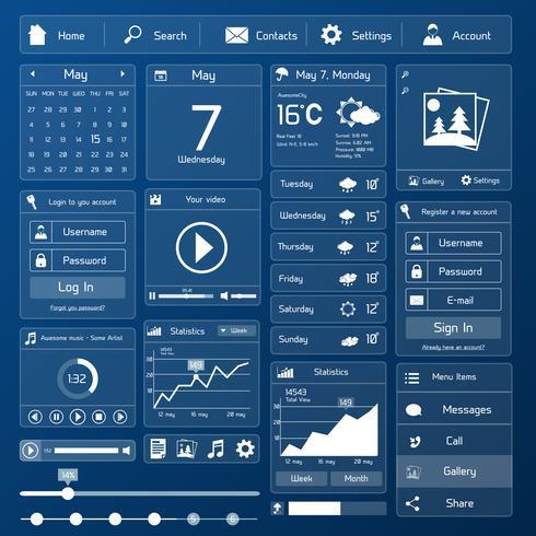 Modello di interfaccia utente piatta vettore
