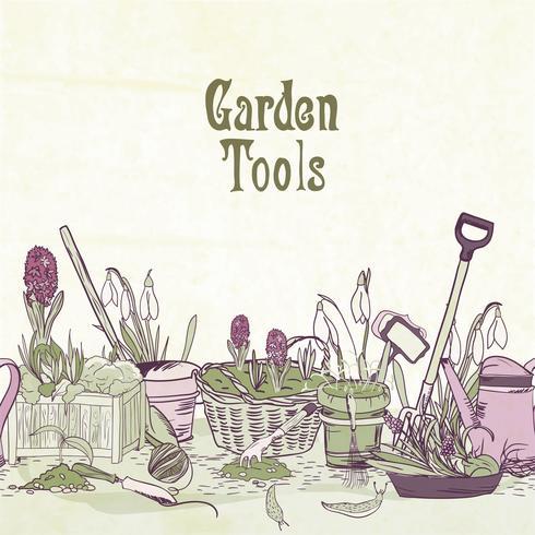 Struttura degli attrezzi da giardinaggio disegnata a mano vettore